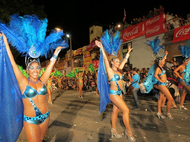 A group of female dancers performing at one of the parades during Carnival in Uruguay