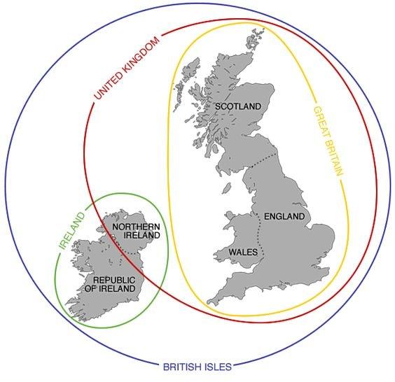 United Kingdom, Great Britain, British Isles map
