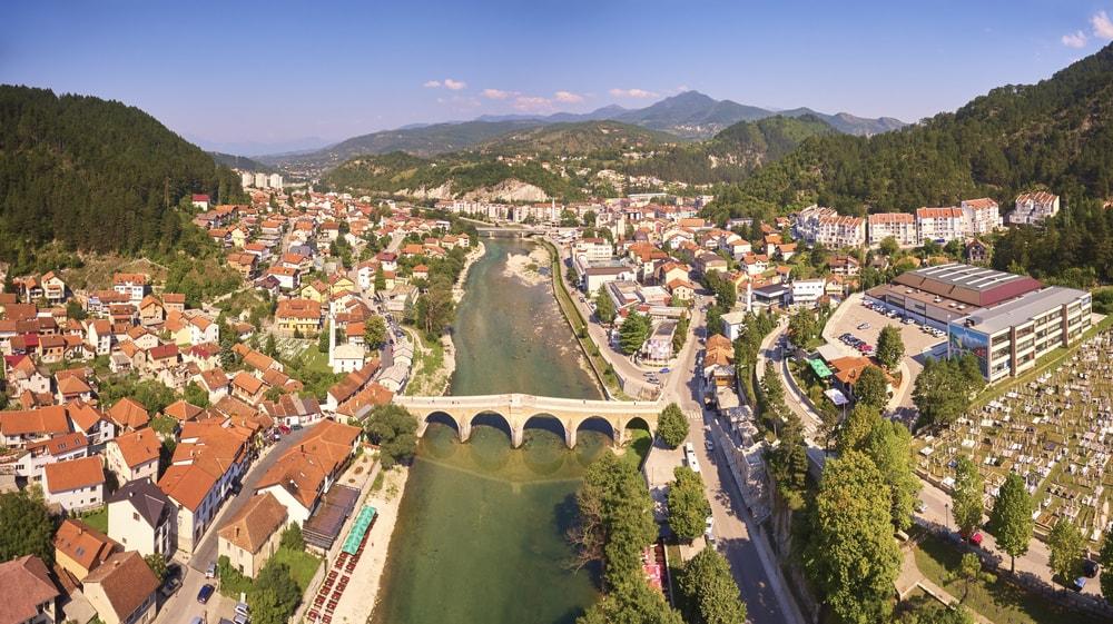 Aerial view of Konjic town | © jordeangjelovik/Shutterstock