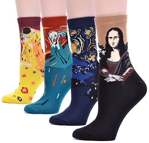 Field4U women's crew socks inspired by four famous paintings, via Amazon