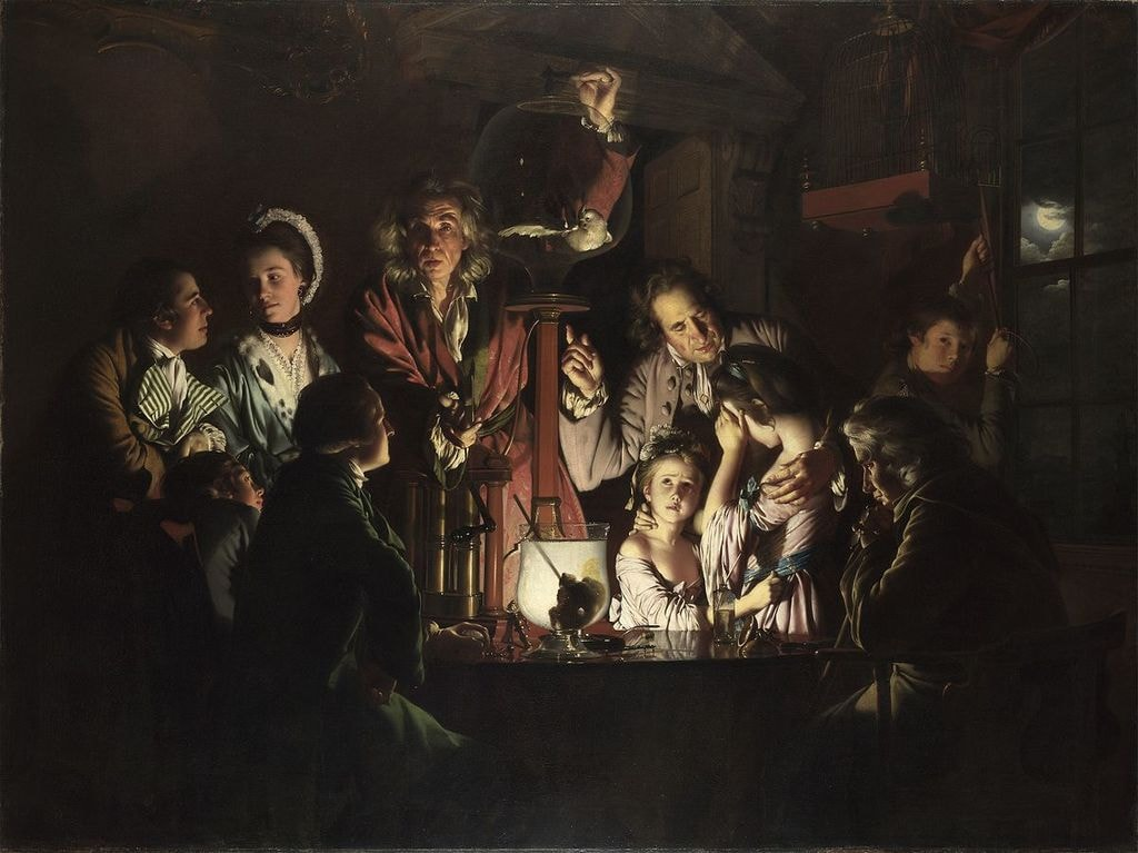 An Experiment on a Bird in the Air Pump   Joseph Wright of Derby [Public domain], via WikiCommons