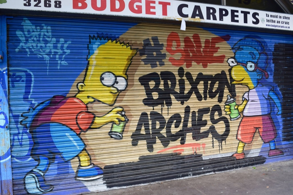 Graffiti featuring The Simpsons characters Bart and Milhouse © Angie Quinn