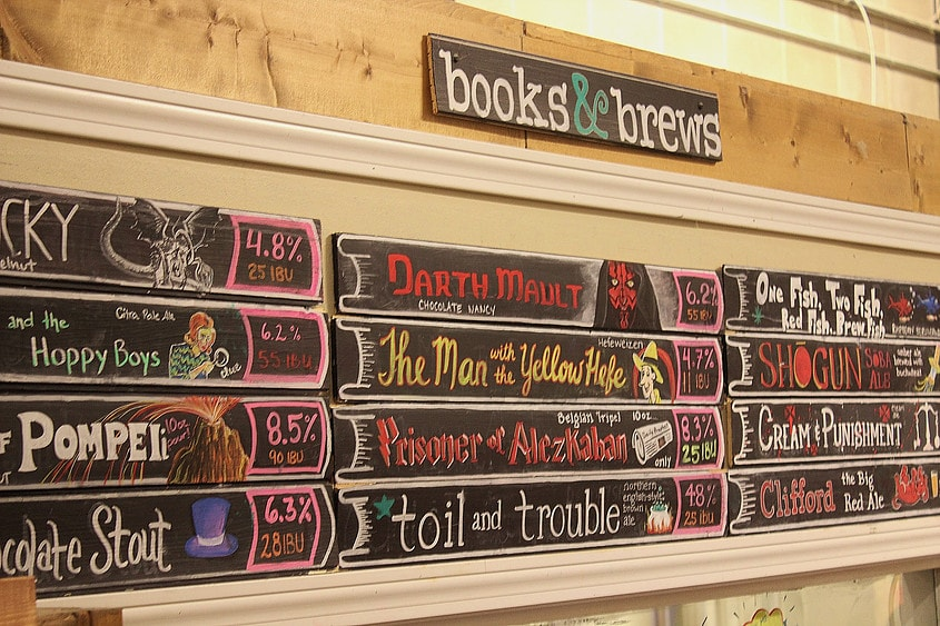 Some of the featured craft beers at Books & Brews| Courtesy Books & Brews