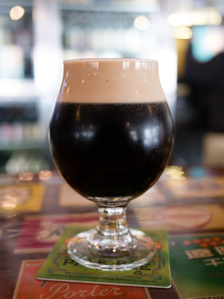 A glass of stout beer