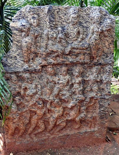 A Veera Gallu or commemoration stone on display at Janapada Loka