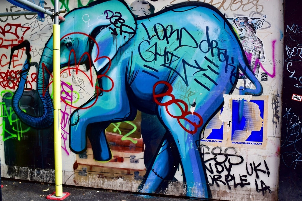 This shocking blue elephant is well suited to Electric Avenue © Angie Quinn