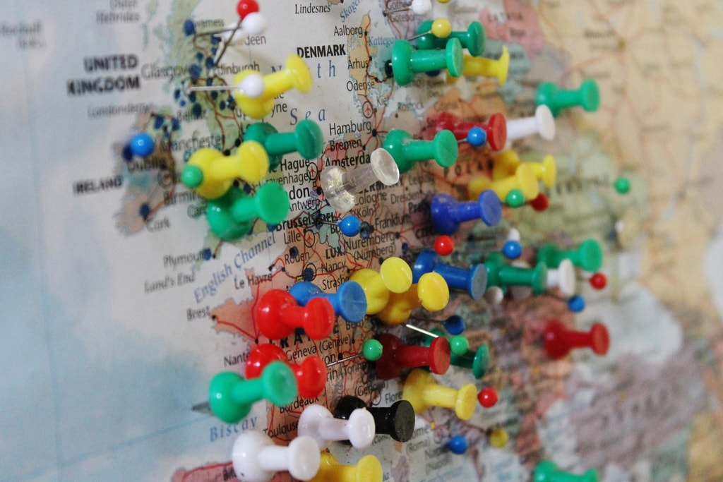 European pinpoints on a map