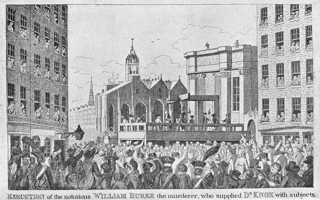 Execution of Burke in the Lawnmarket, Edinburgh, 28 January 1829   Public Domain via WikiCommons