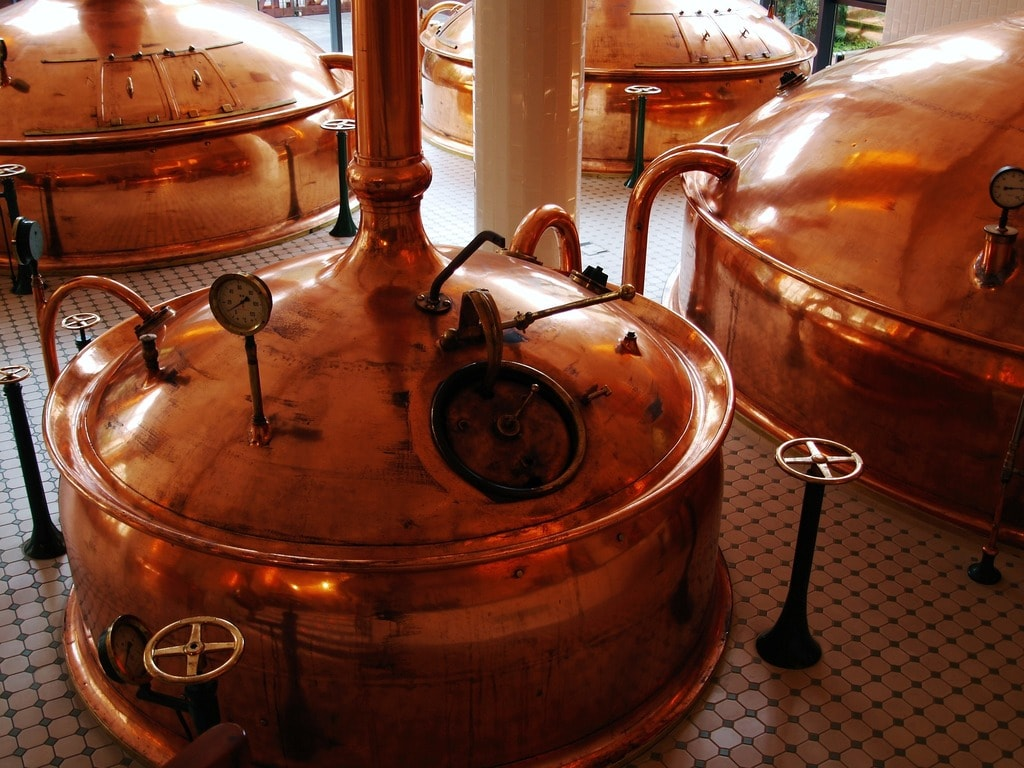 Some machines in a beer brewery