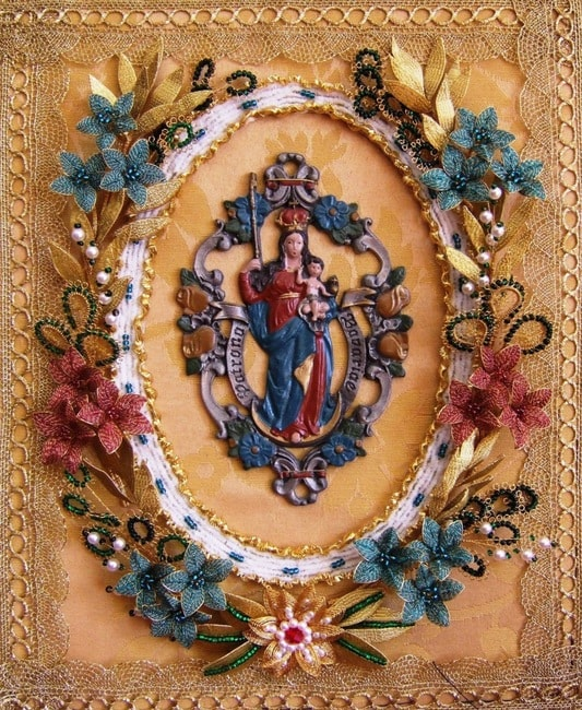 Colourful ganutell flowers adorn a religious piece | Courtesy Maria Kerr