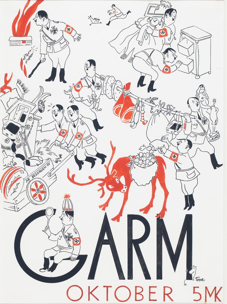 Tove Jansson, cover illustration for the magazine 'Garm', 1944 | Tampere Art Museum Moominvalley. Photo: Finnish National Gallery / Yehia Eweis © Moomin Characters