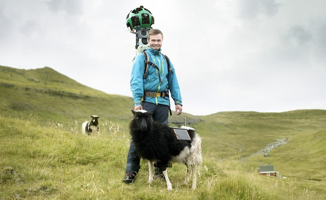 A Google Street View worker with a co-worker...but which is which?? | Courtesy of visitfaroeislands.com