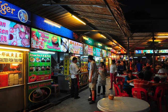 Hawker food stalls in Penang