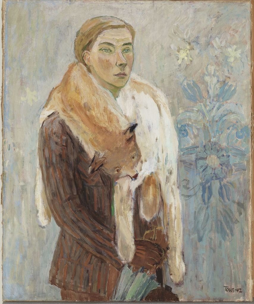 Tove Jansson, 'Lynx Boa' (self-portrait), 1942 | Private Collection. Photo: Finnish National Gallery / Yehia Eweis.
