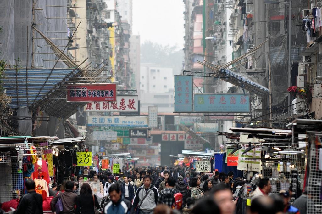 Mong Kok Crowds Hong Kong