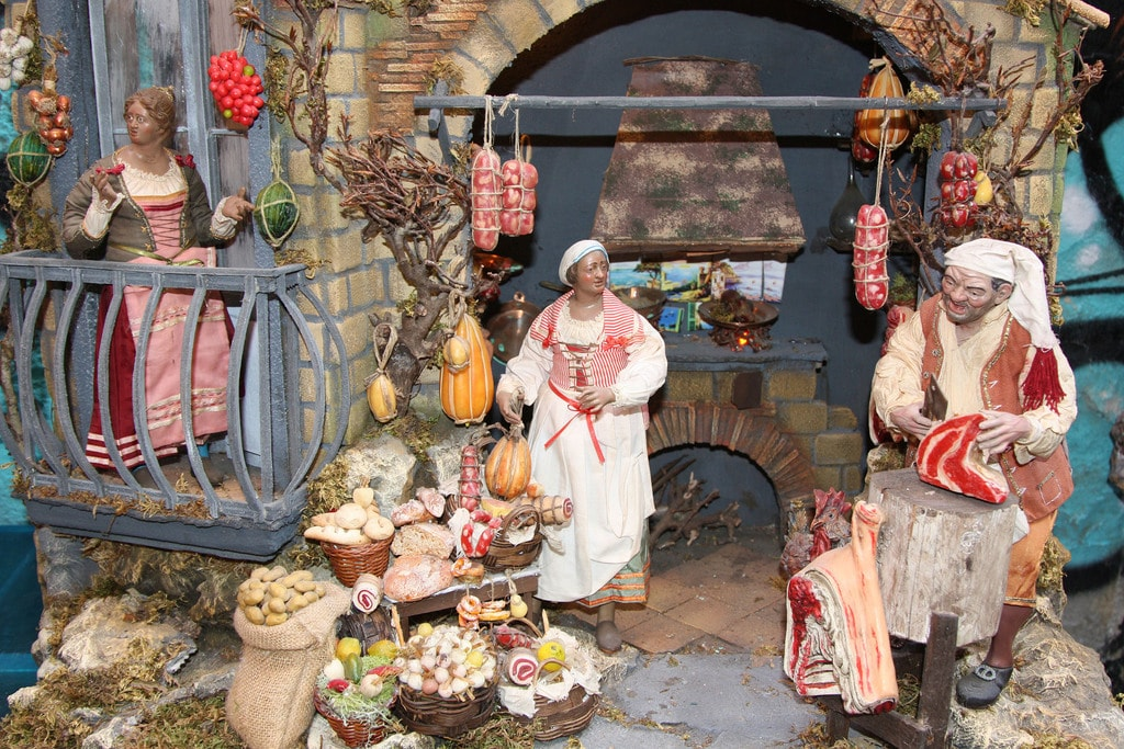 A family of sausage makers joins Jesus at his birth.