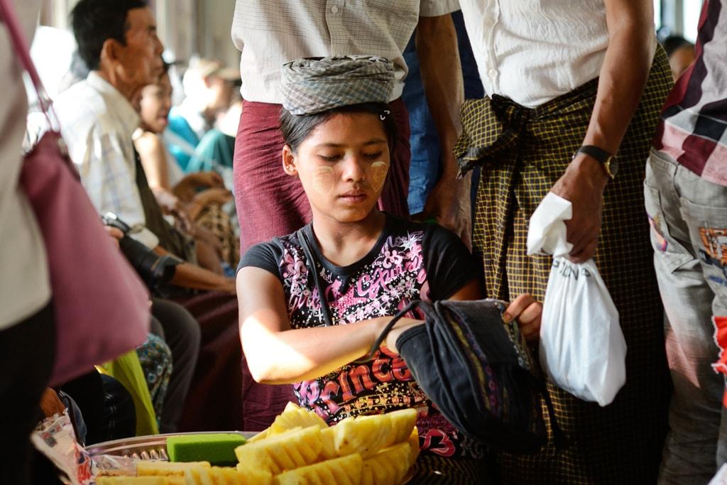 Pineapple-Seller-on-Train-in-Myanmar