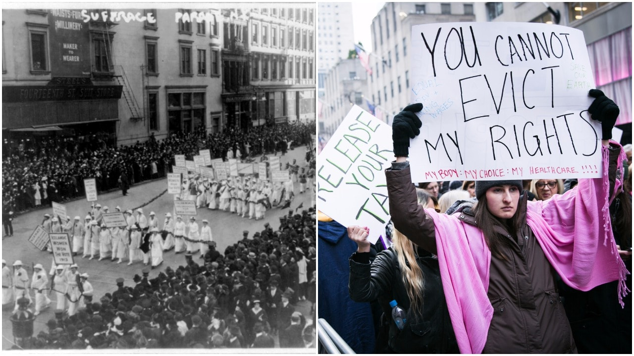 L:Women's parade in NYC | © fasttrackteaching.com| R: Women's March in NYC (2017) | © Karla Cote / Flickr