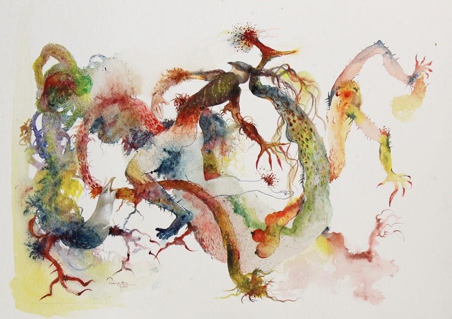 priyantha-udagedara_-2015_-untitled-i_-watercolor-and-collage-on-board_-30.5-x-43cm_1