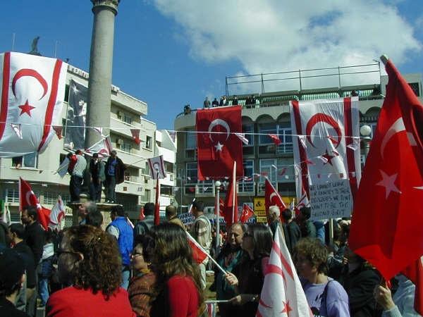 Pro-TRNC_demonstration_in_Sarayönü_North_Nicosia