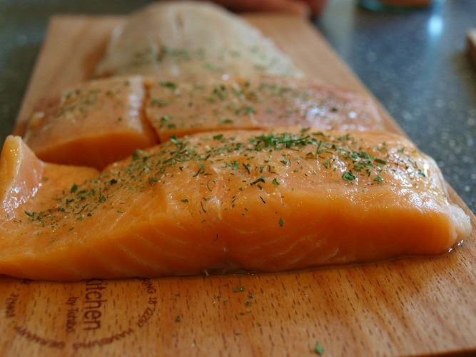 A raw fillet of salmon