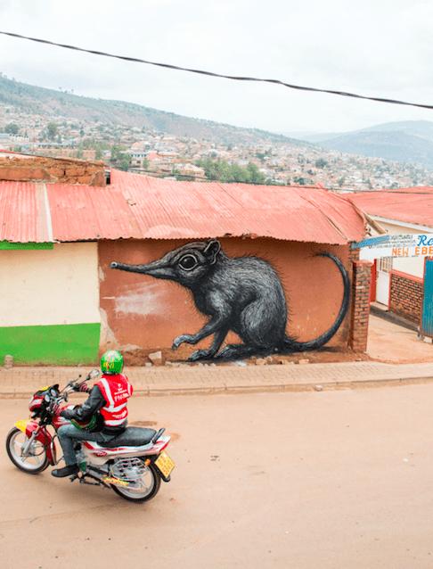 ROA's elephant shrew mural in Nyamirambo | Courtesy of Chris Schwagga / Kurema Kureba Kwiga