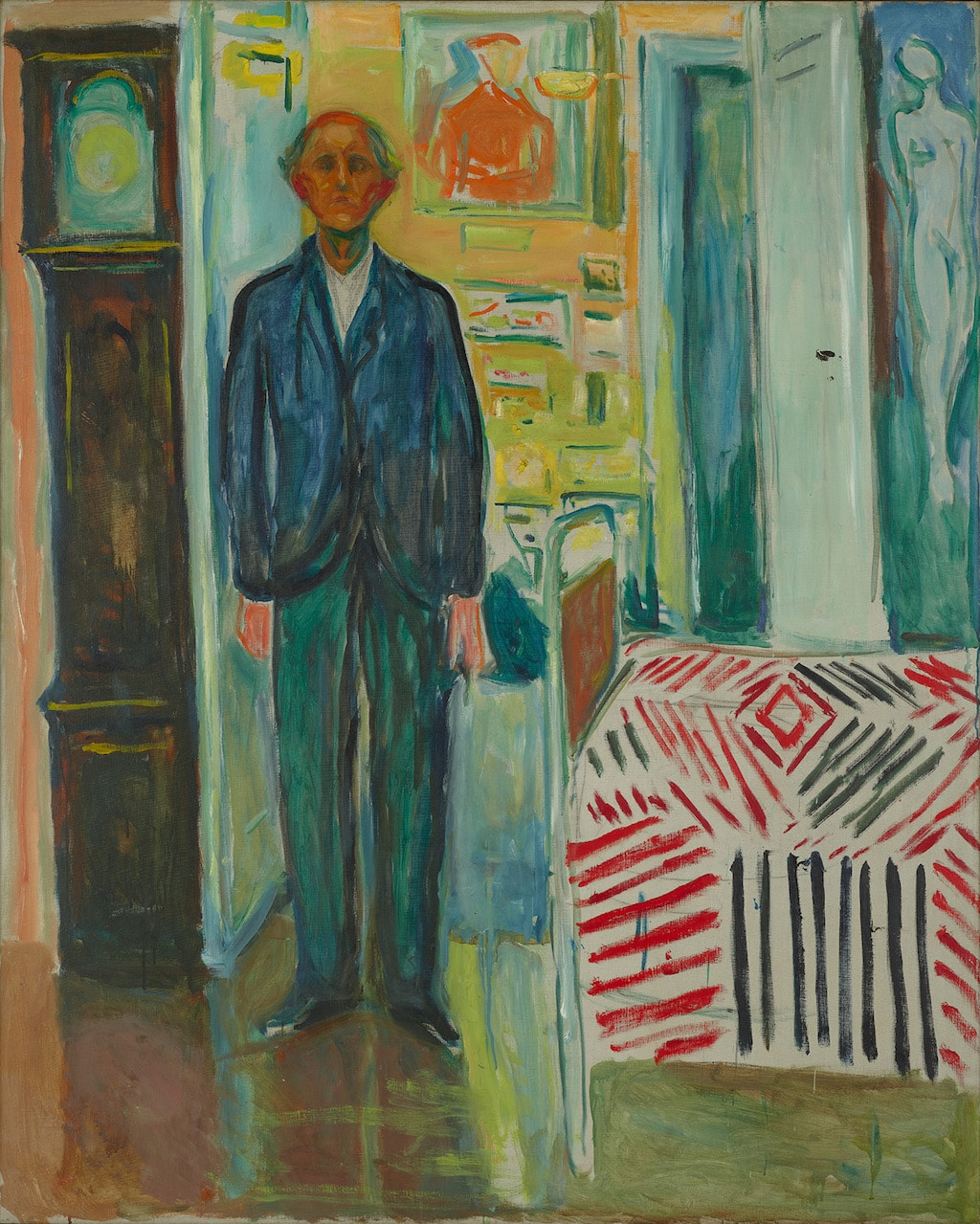 Edvard Munch's'Self Portrait between the Clock and the Bed', 1940–1943 | © 2017 Artists Rights Society (ARS), New York / Munch Museum