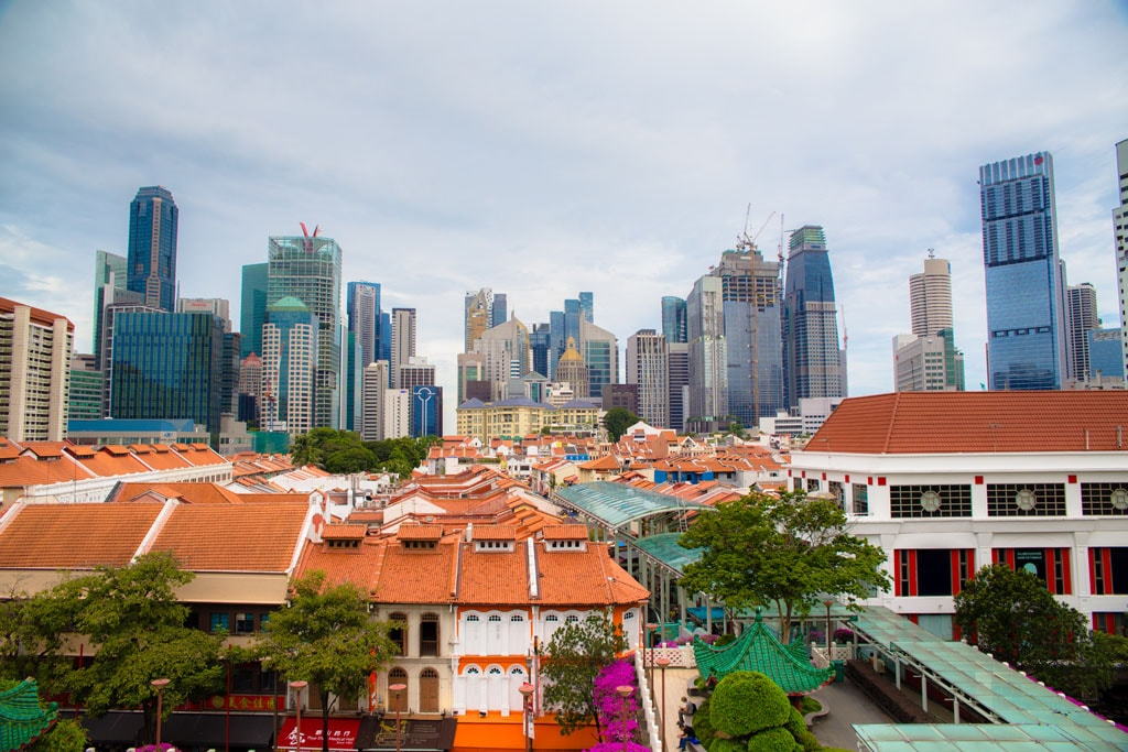 Singapore Chinatown's cityscape and shophouses