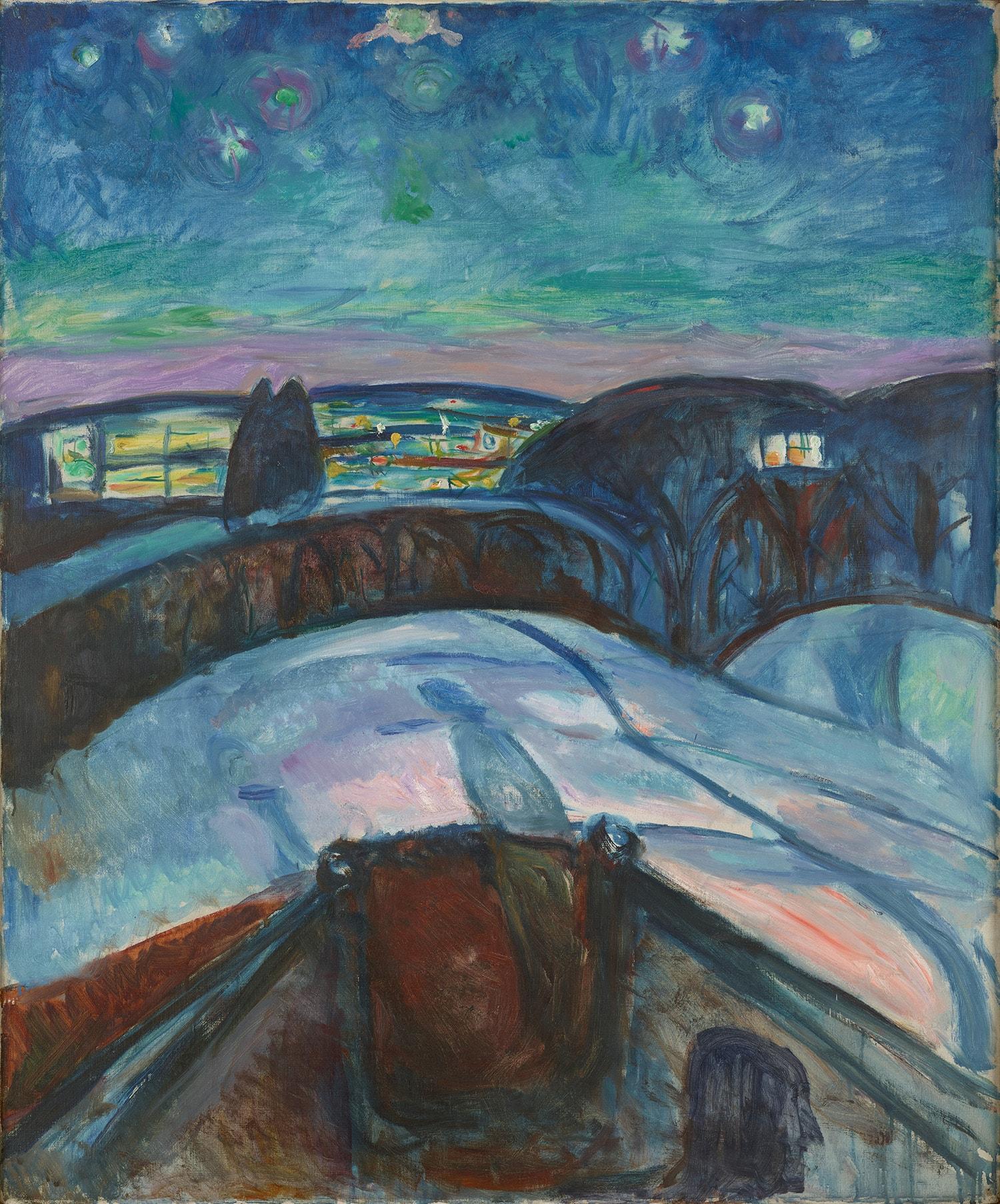 Edvard Munch's 'Starry Night', 1922–1924 | © 2017 Artists Rights Society (ARS), New York / Munch Museum