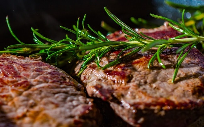 Grilled beef with rosemary