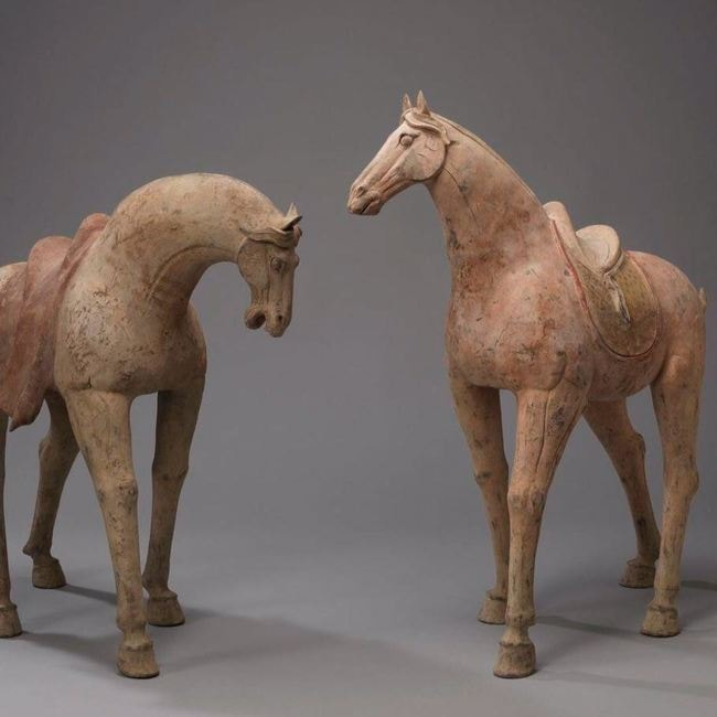 Monolithic pair of painted horses | Courtesy of Duton's