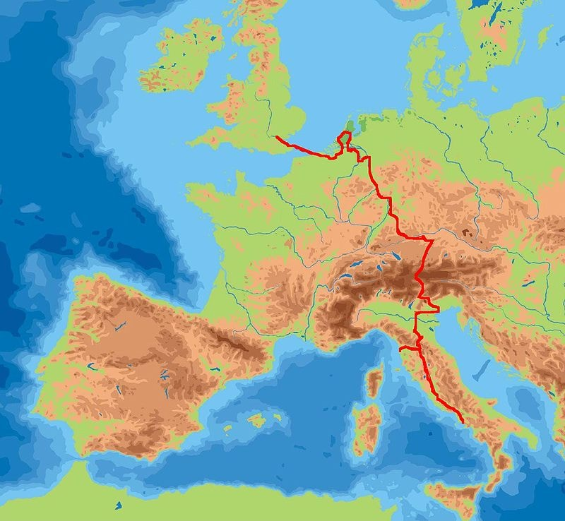 William Beckford's Grand Tour route across Europe | © Wikicommons