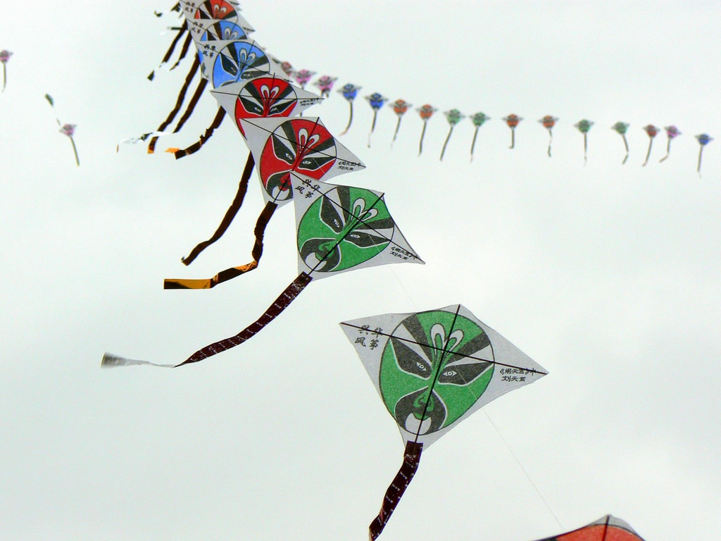 Kites flying near to the Drum Tower