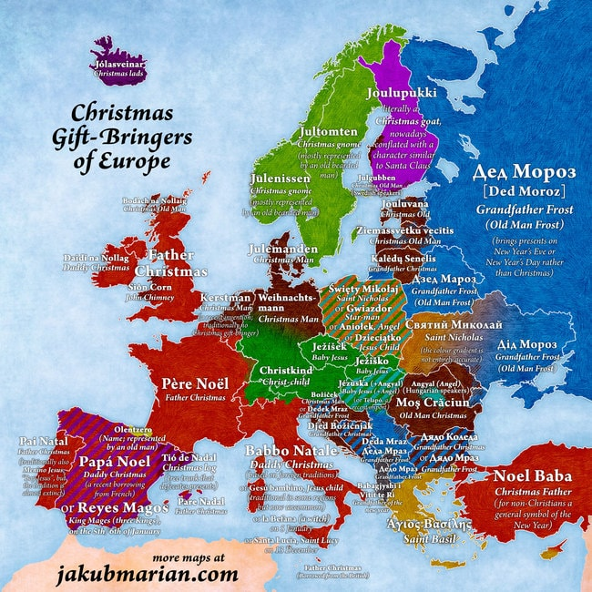 """A map of Christmas gift-givers across Europe   <a href=""""https://jakubmarian.com/christmas-gift-bringers-of-europe/"""">© Jakub Marian</a>"""