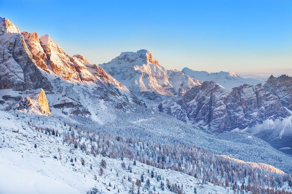 Morning light on Dolomite peaks at Cortina d'Ampezzo   Marten_House/Shutterstock