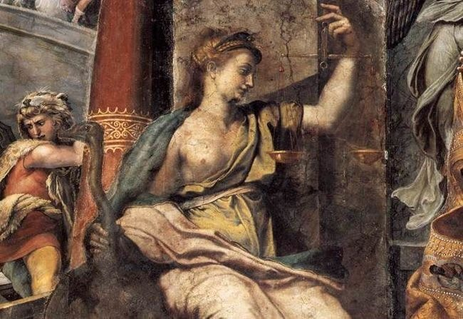 "The allegorical figure of Justice | <a href=""https://commons.wikimedia.org/wiki/File:Sala_di_costantino,_giustizia.jpg"" target=""_blank"" rel=""noopener"">© Web Galley of Art / WikiCommons</a>"