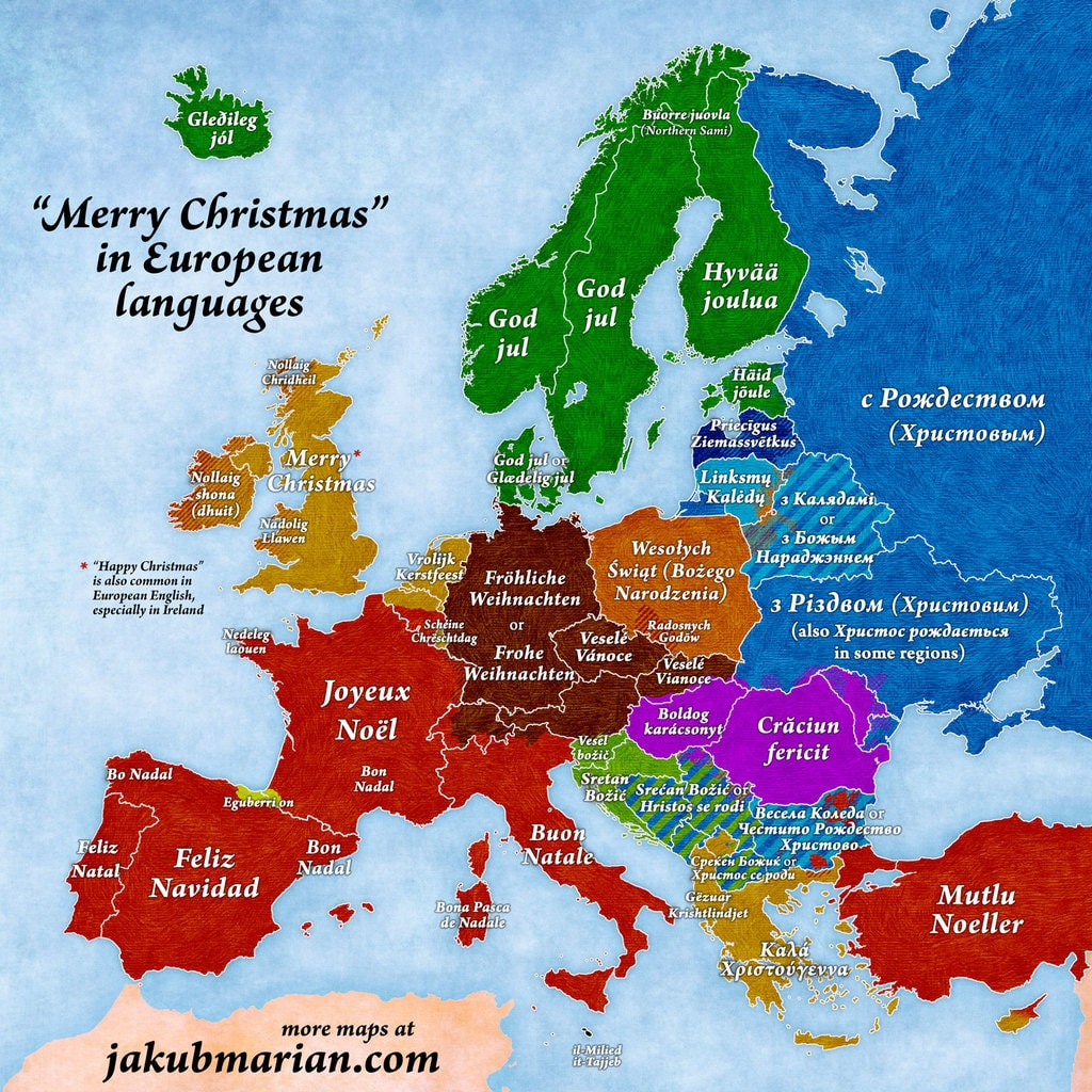 This map shows you how to say merry christmas in every european this map shows you how to say merry christmas in every european language kristyandbryce Images