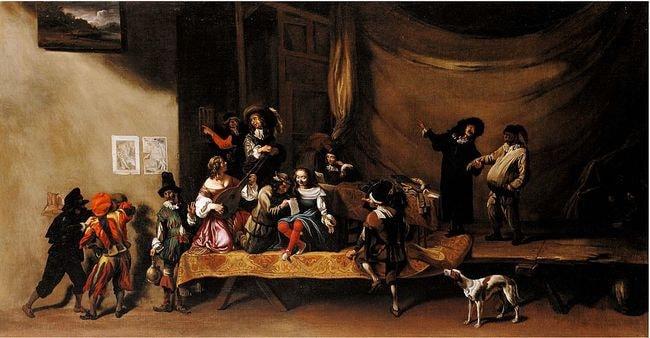 Michelangelo_Cerquozzi_-_The_Rehearsal,_or_A_Scene_from_the_Commedia_dell'Arte