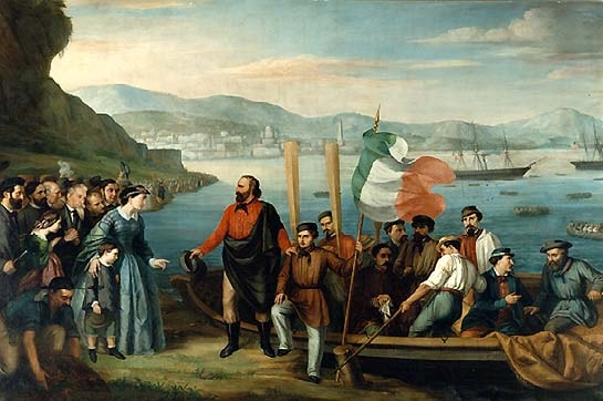 A painting preserved in Museo del Risorgimento representing Garibaldi and the Thousand departing from Quarto | WikiCommons