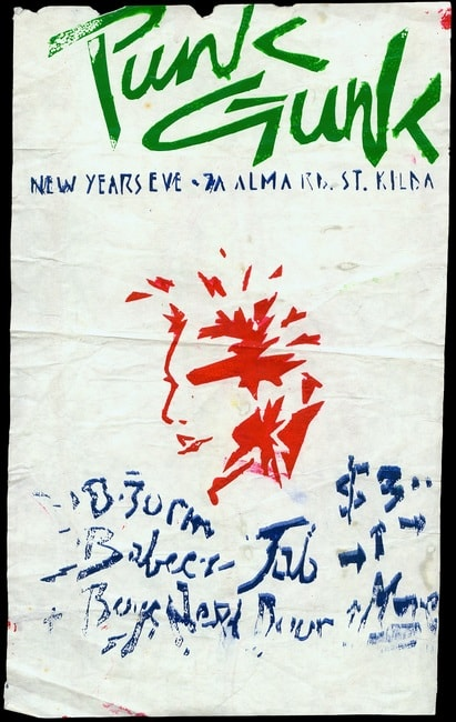 Punk Gunk, St Kilda, February 1977. Designed by Philip Brophy, Gift of Nick Cave. Australian Performing%2