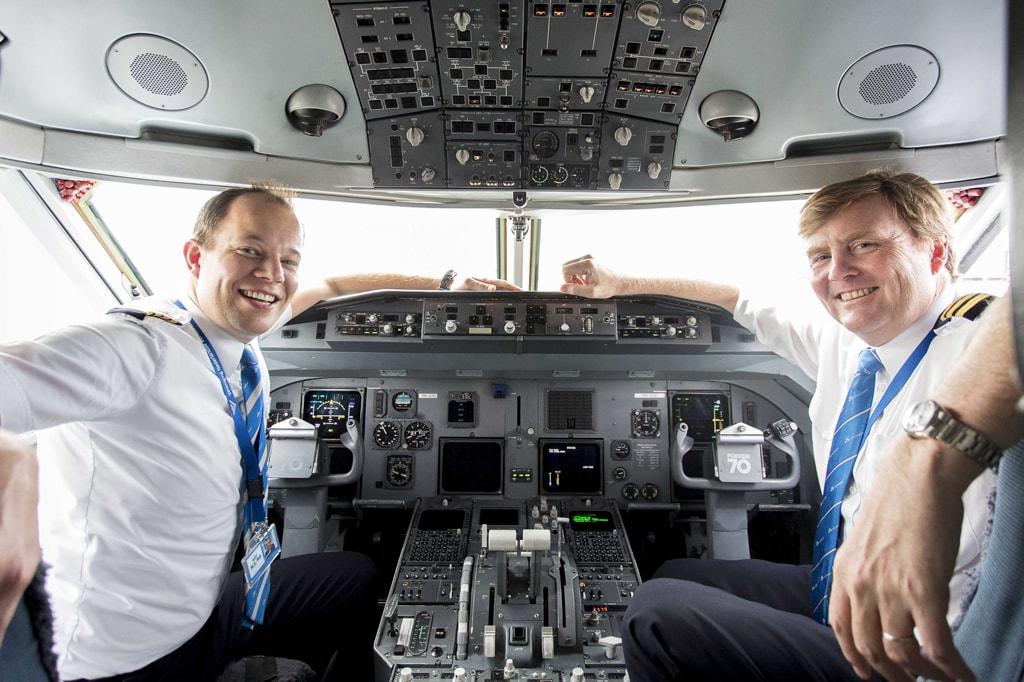 King Willem-Alexander as passenger pilot at Schiphol, Netherlands - 16 May 2017