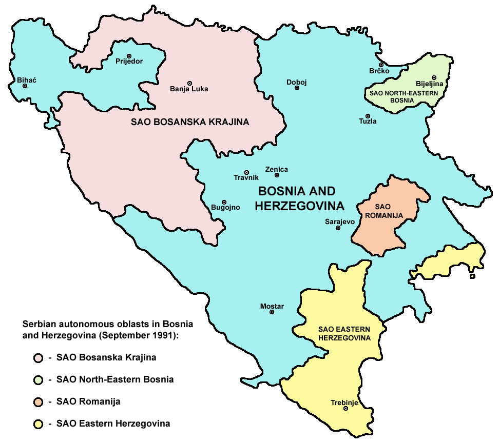 Serb Autonomous Regions in 1991 | © PANONIAN/WikiCommons