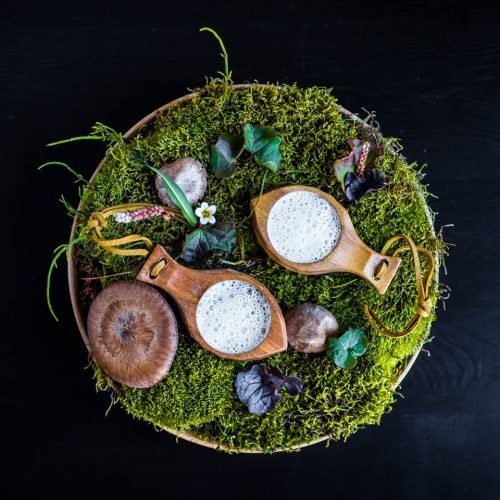 Svalbard mushroom soup and smoked cheese foam | Courtesy of Huset