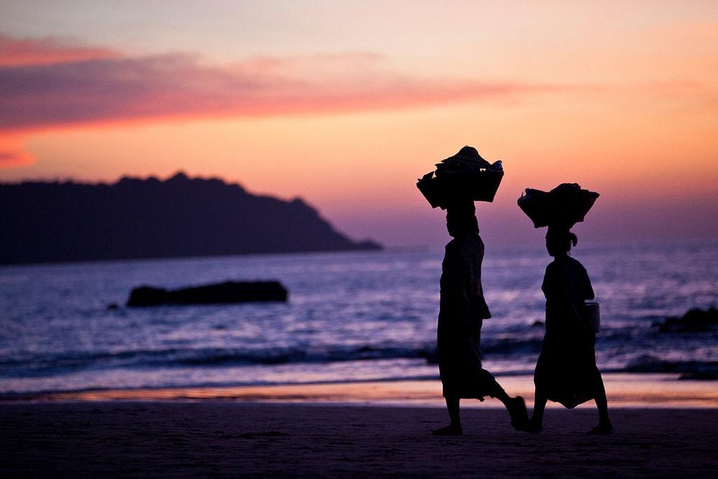 Women-Walking-at-Sunset-on-Ngapali-Beach