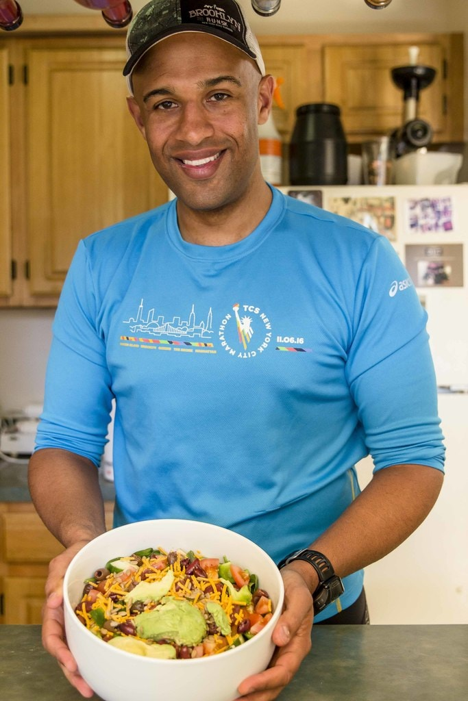 Yasir Salem and the five pound salad he eats daily for lunch