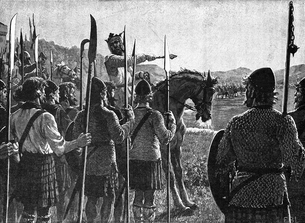 Battle of Bannockburn, Bruce Addresses Troops | © Edmund Leighton [Public domain], via WikiCommons