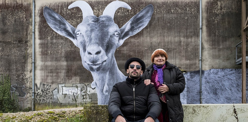 JR and Agnès Varda make a case for goats wth horns in <em>Faces Places</em> | © Cohen Madia