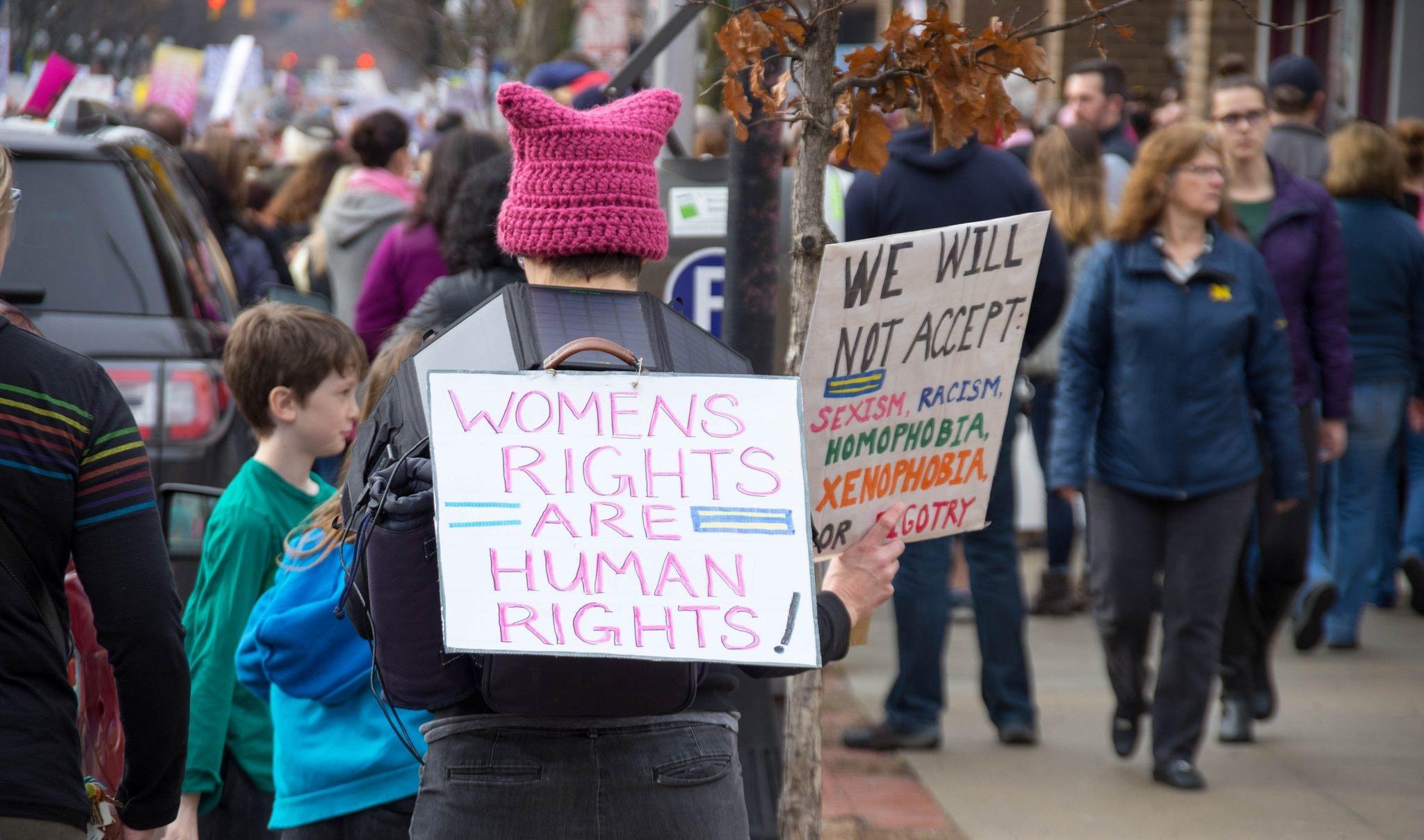 Protestors at the 2017 sister march in Ann Arbor, Michigan   © John C. Rivard/Flickr