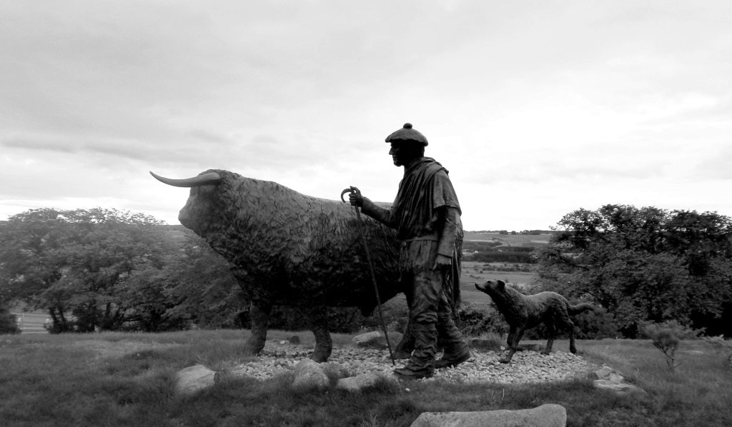 The Drover Memorial Statue at Dingwall Auction Mart, Scotland