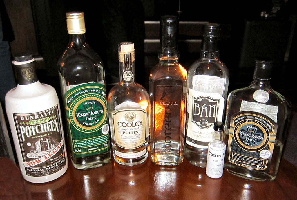 A_Selection_of_Legal_Irish_and_Celtic_Poitin_or_Poteen_Bottles_Taken_in_a_Poitin_Bar